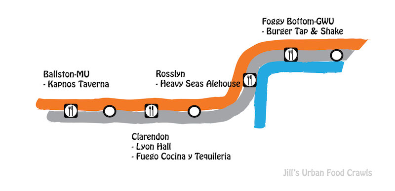 DC Orange line metro food crawl map
