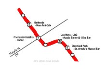 DC Redline metro food crawl map