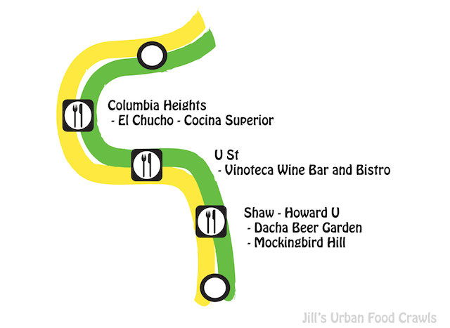 DC Green line metro food crawl map