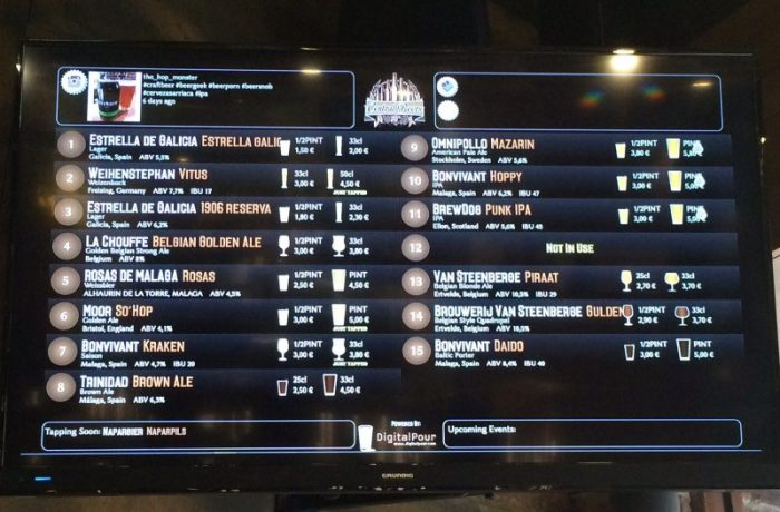 Beers on tap at Central Beers