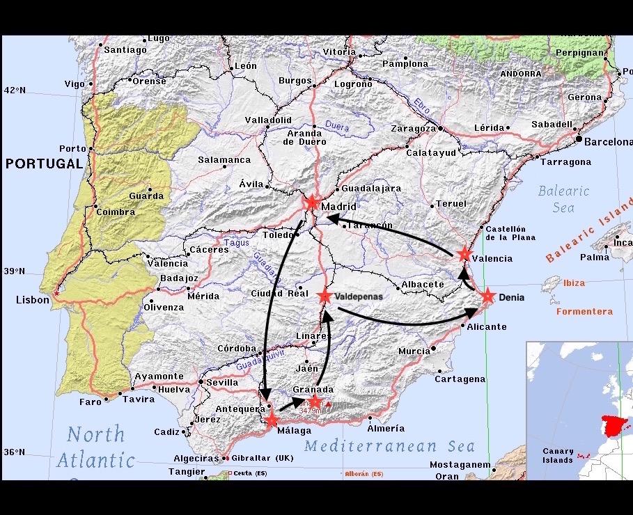 Spain trip map