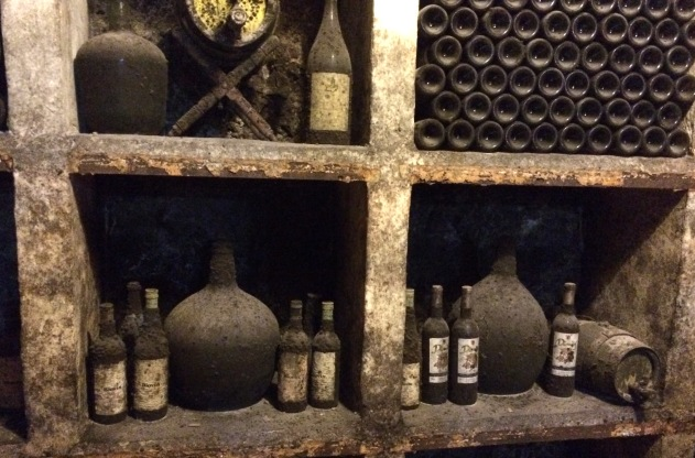 Old wine bottles in cave