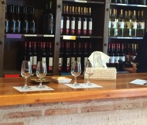 Glasses on wine tasting bar