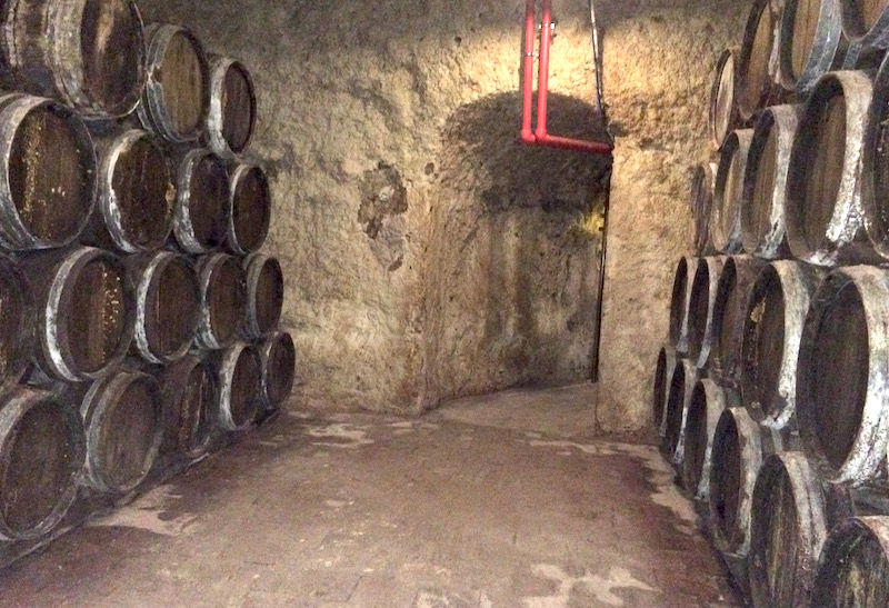 Old wine barrels in cave Valdepenas spain