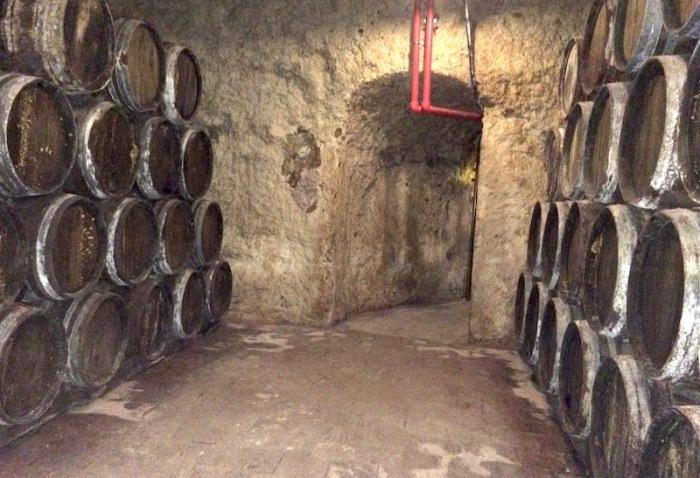 Old wine barrels in cave Valdepenas spain