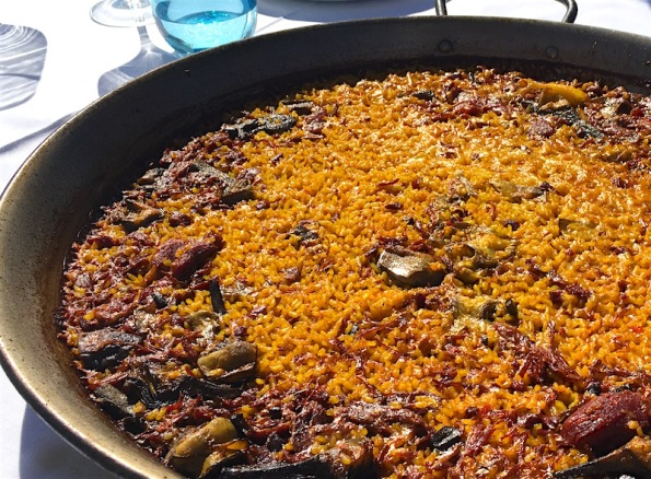 Paella with Duck Mushrooms Artichokes Marina Beach Valencia