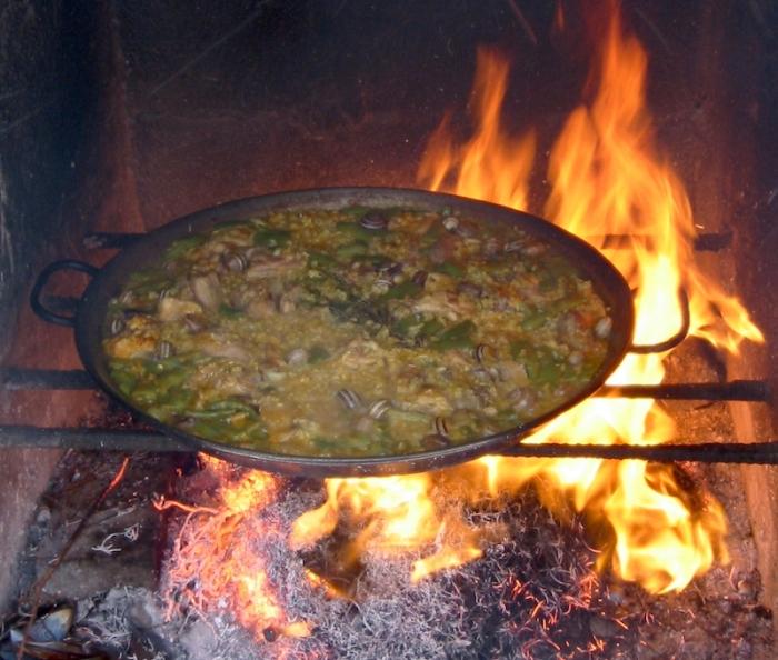 paella over fire