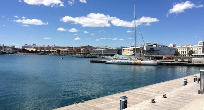boat in marina port of valencia spain
