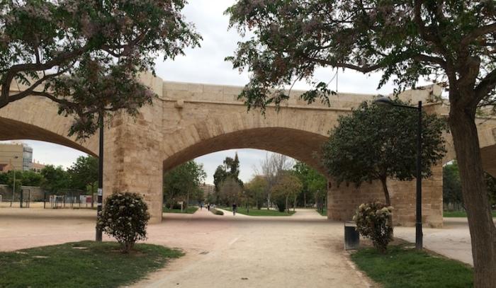Valencia Spain bridge Turia gardens