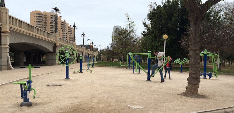 Valencia Spain Turia gardens exercise equipment