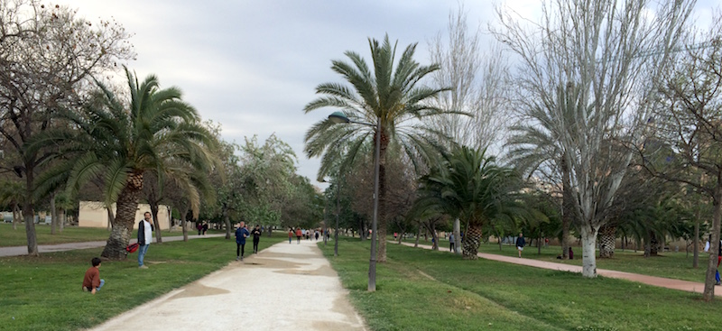 Valencia spain Turia gardens paths