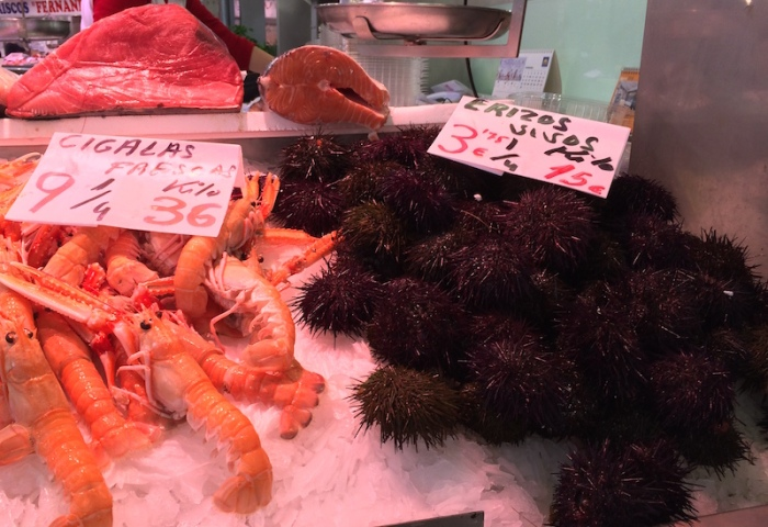 sea urchin cigalas Valencia Spain market