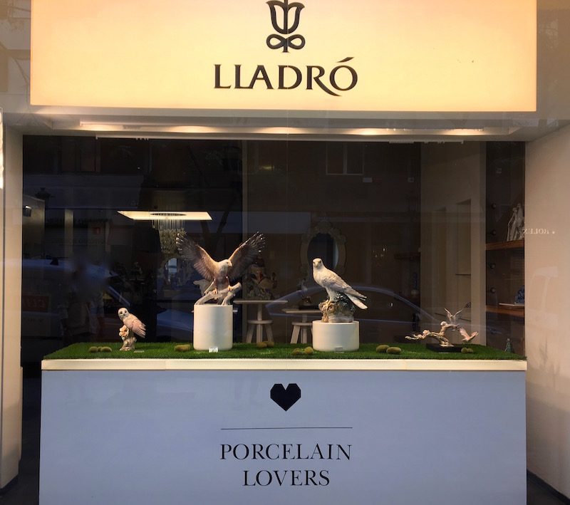 Lladro porcelain store window Valencia Spain