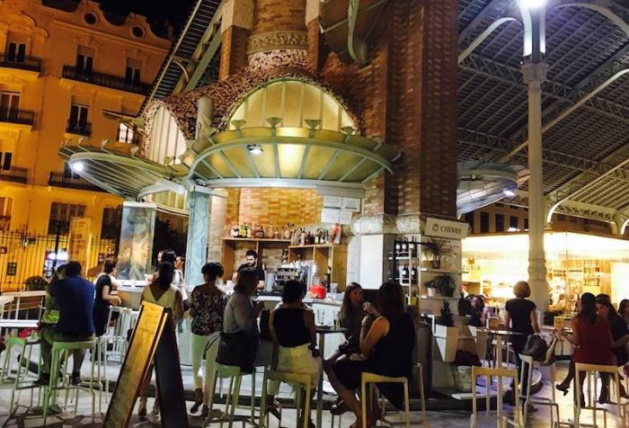 Vino y Flores at night Mercado Colon Valencia Spain