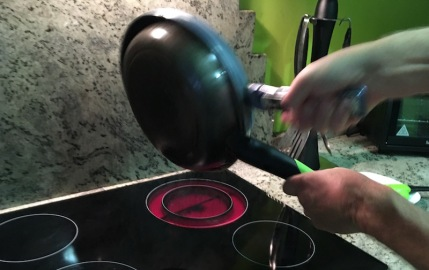 Flip back into the small pan