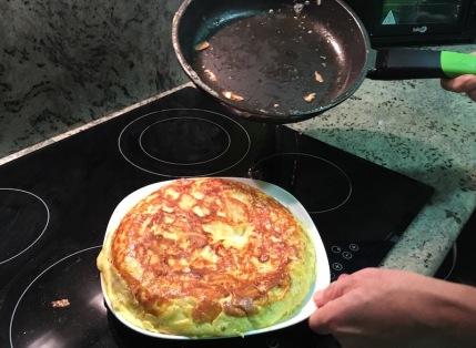 Slide tortilla onto plate
