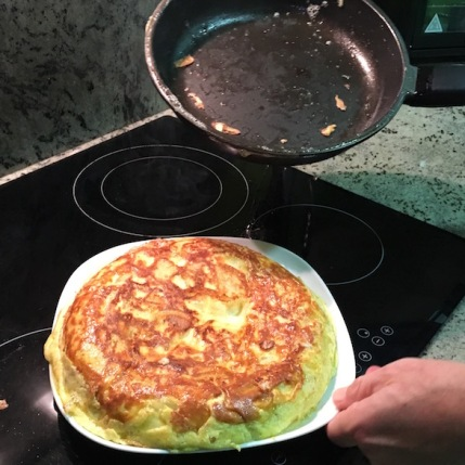 Slide tortilla onto plate
