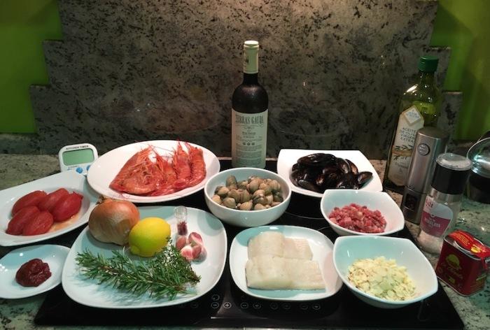 Ingredients for Zarzuela de Mariscos