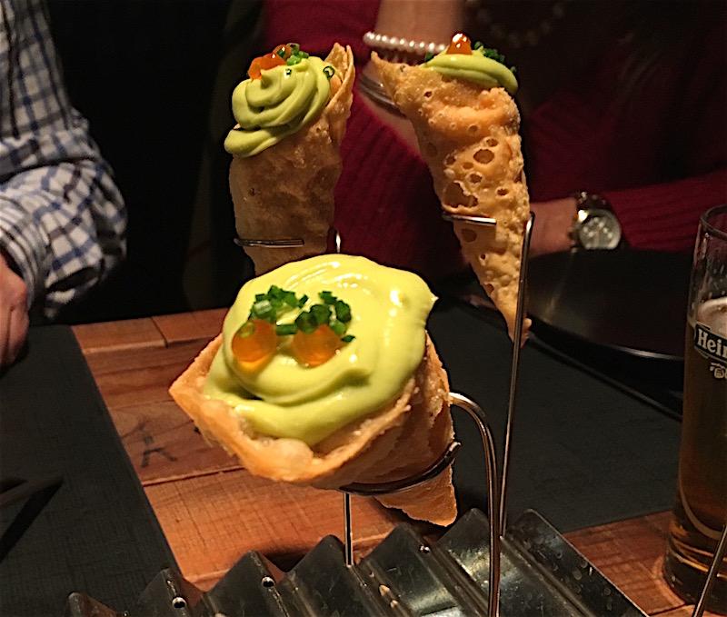 Salmon crunchy cones Canalla Bistro Valencia