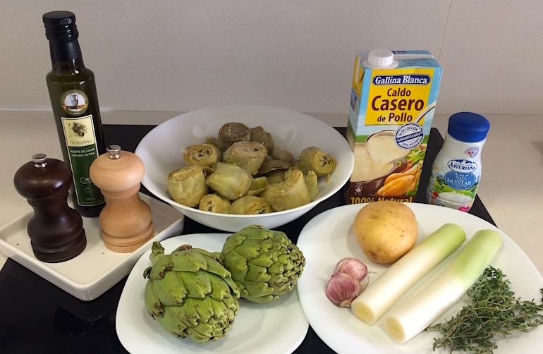 Ingredients needed for Creamy Artichoke Soup