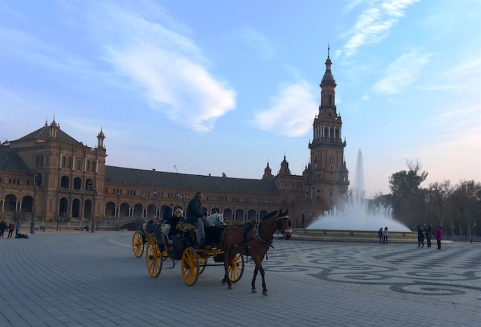 Plaza de Espana horse drawn carriage rides Sevilla Spain