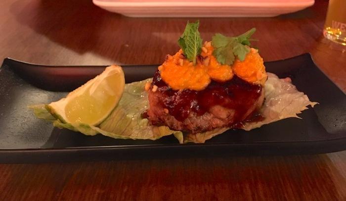 Pork belly lettuce wrap taco Smoke and Roll Valencia