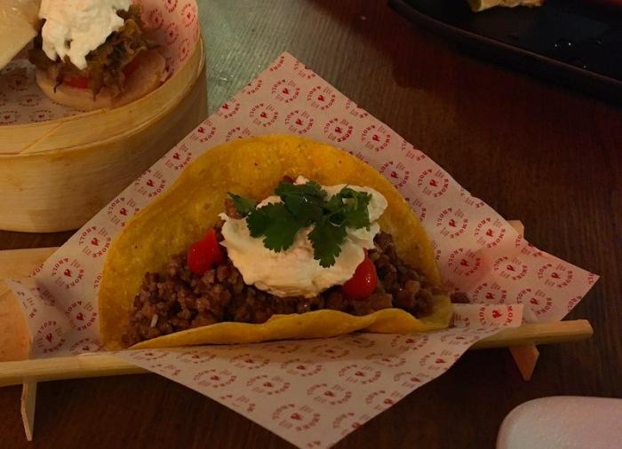 Pork taco with burrata Smoke and Roll Valencia