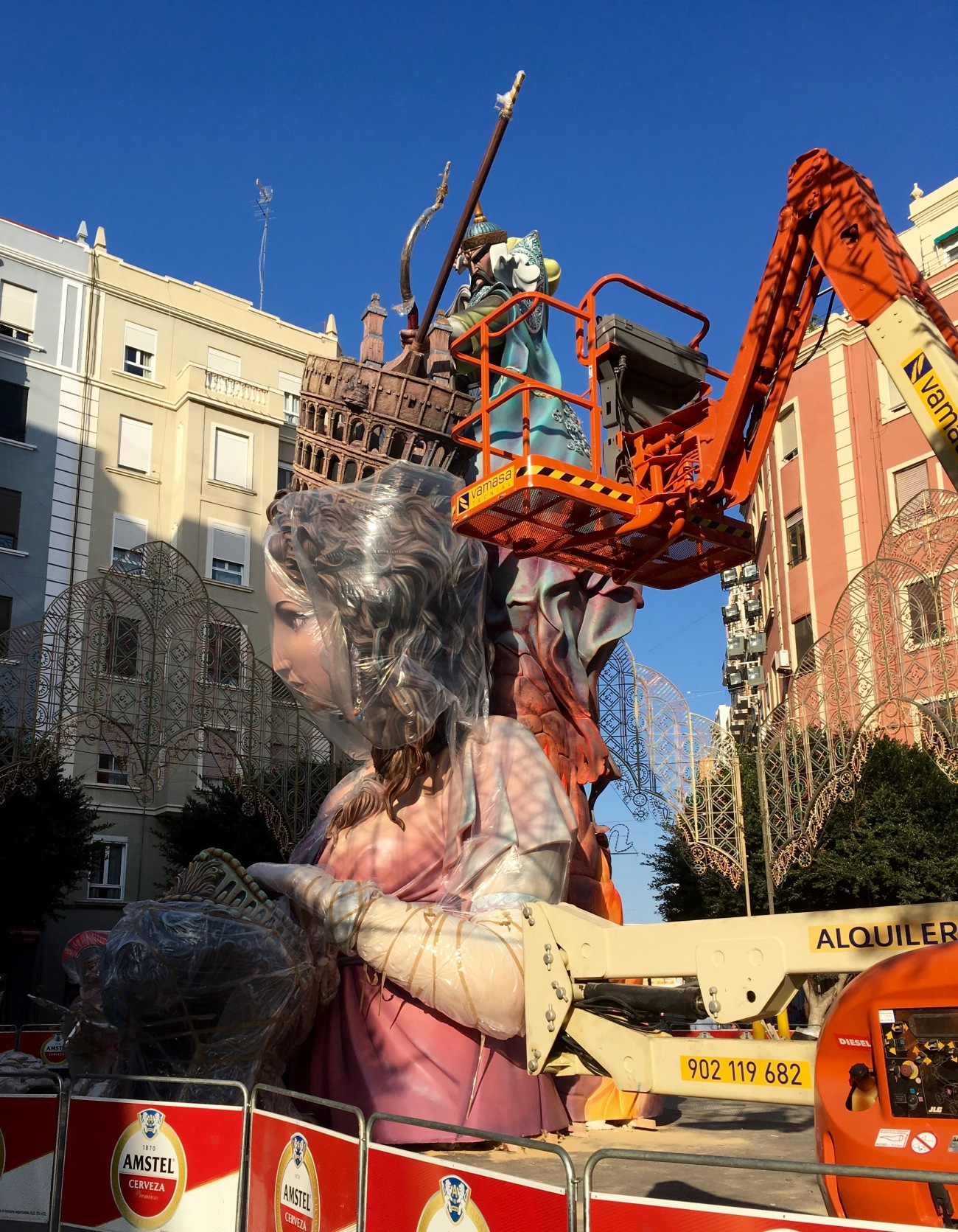 Fallas monument construction Valencia Spain