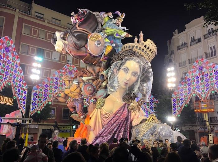 Calle Sueca Falla monument under construction Valencia