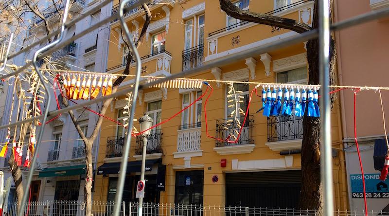 String of Mascletas Valencia Spain Fallas