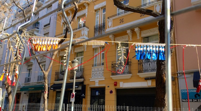String of Mascletas Valencia Spain Fallas