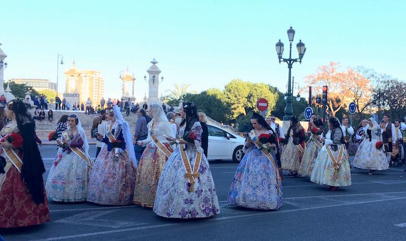 Falleras Ofrendra parade Valencia Fallas