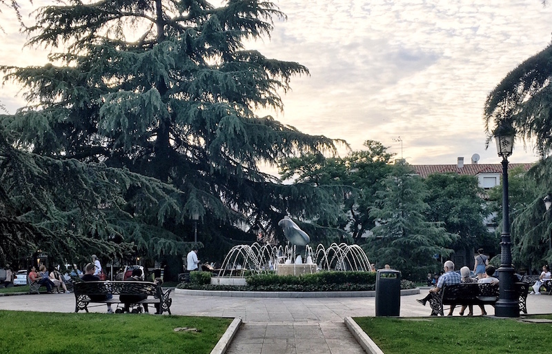 Plaza Mayor Fountain Barajas Madrid Spain