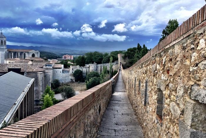 Girona Spain Passeig Muralla city wall