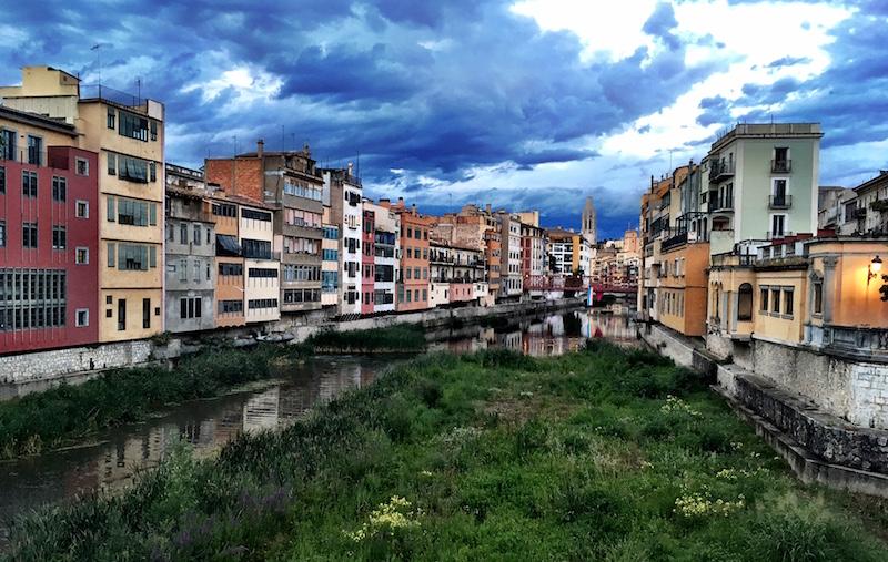 Onyar river Girona Gerona Spain