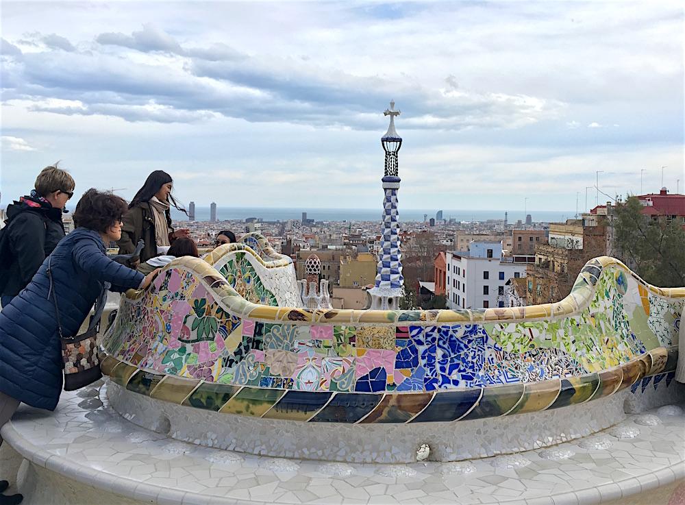 Parc Guell Terrace Mosaics Barcelona Spain