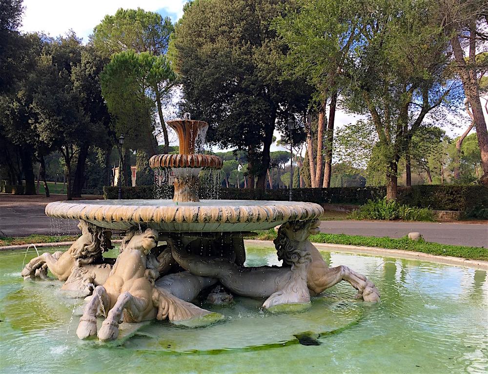Fountain Villa Borghese Garden Rome Italy