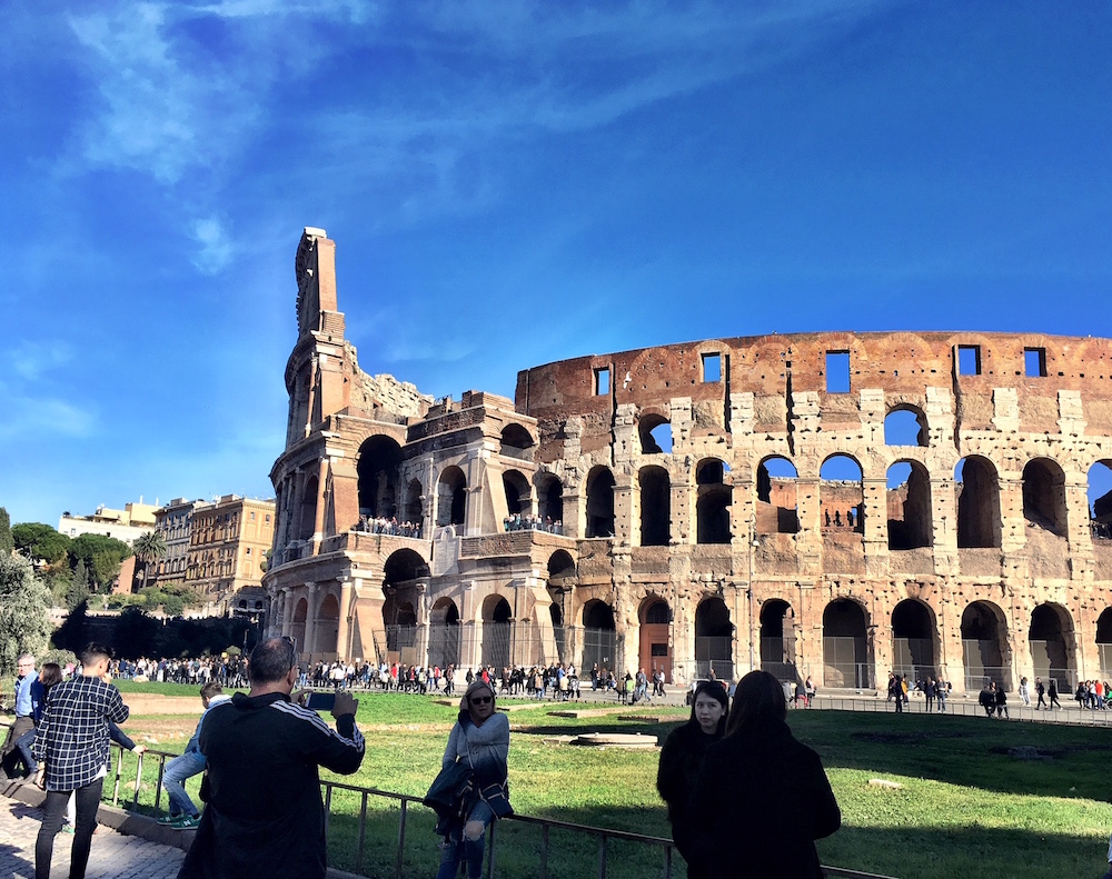 Roman Colosseum Tourists Rome Italy