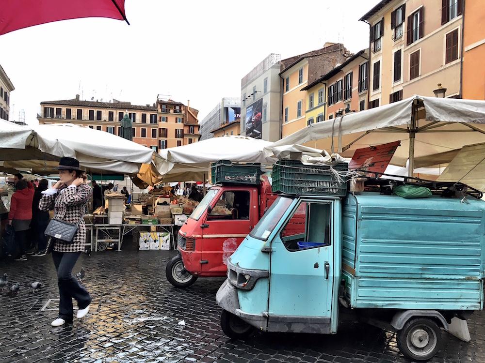 Market trucks Rome Italy