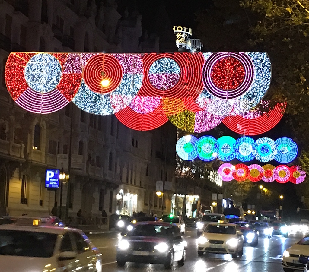 Christmas Lights December in Madrid Spain