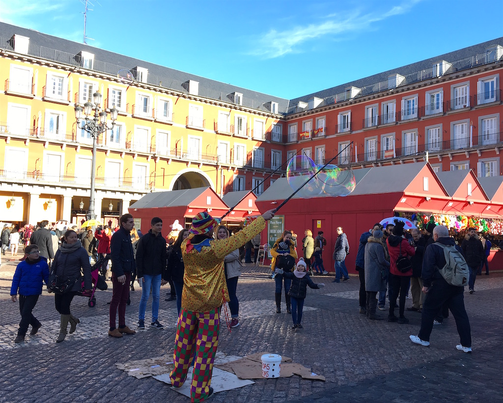 Plaza Mayor Christmas market bubble man