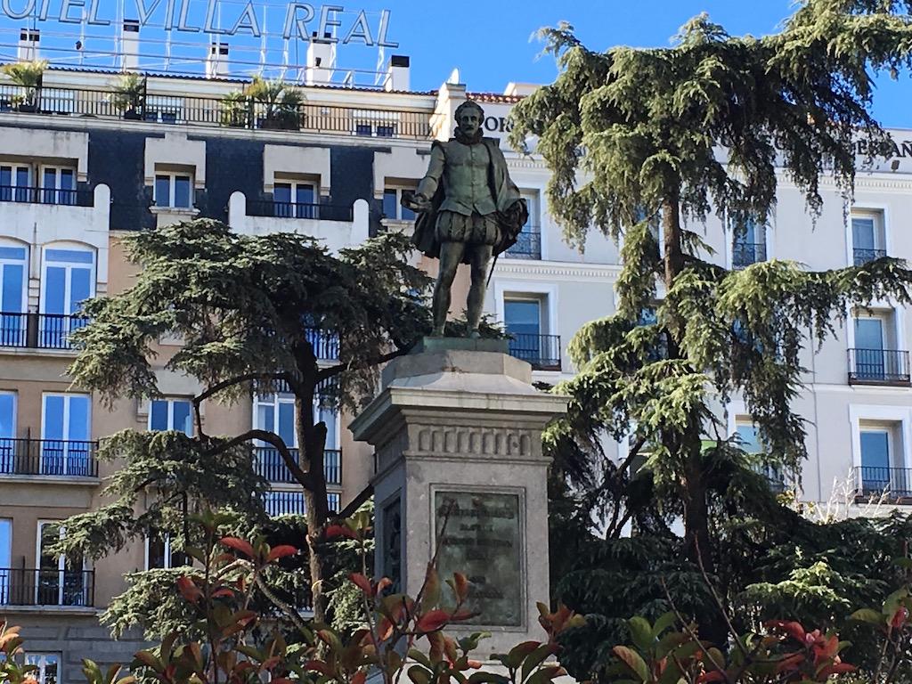 Statue Miguel Cervantes Literary Quarter Madrid
