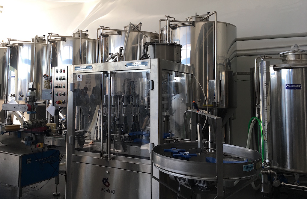 fermentation tanks and bottling equipment