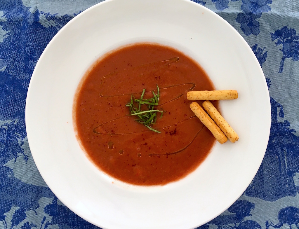 Cherry Chipotle Gazpacho cold soup recipe