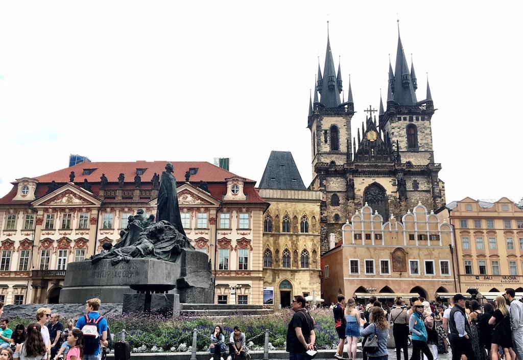 old town square prague jan hus