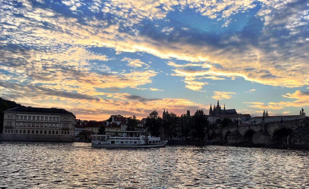Prague sky Vltava river dusk