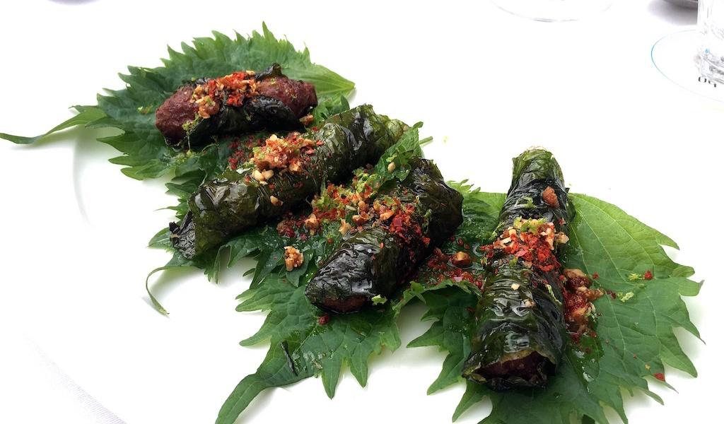 lamb wraps betel leaves sansho prague