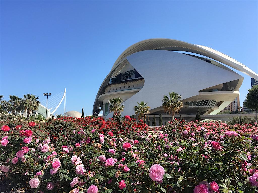 Valencia Opera House with rose garden