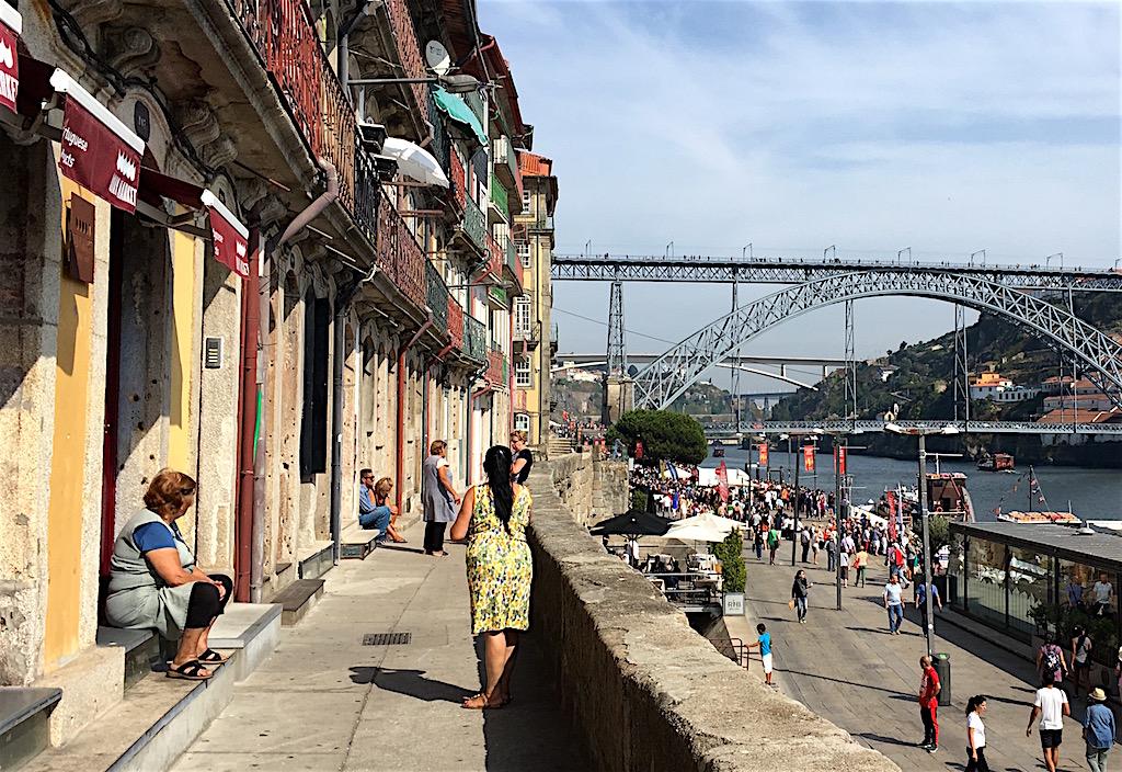 Ribeira riverfront Dom Luis bridge Porto Portugal