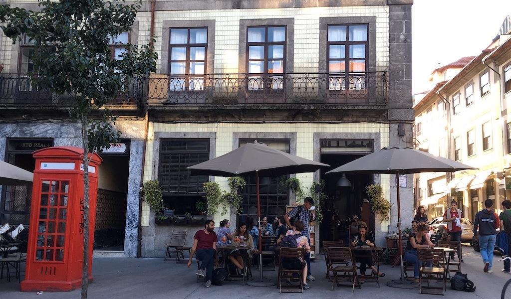 cafe candelabro corner patio porto portugal